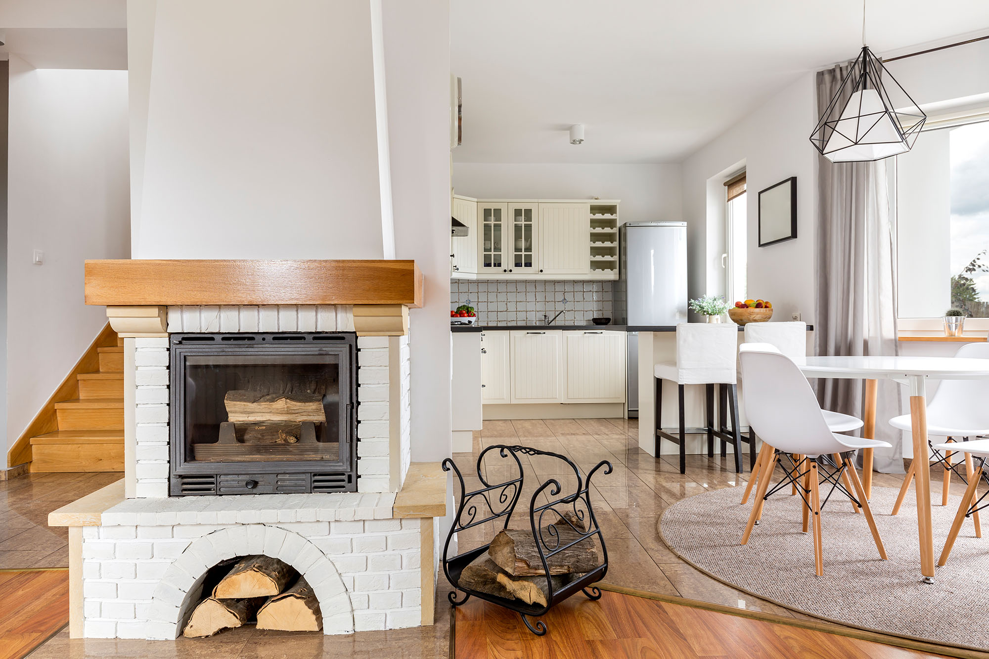 Shot of a fireplace in a stylish modern house